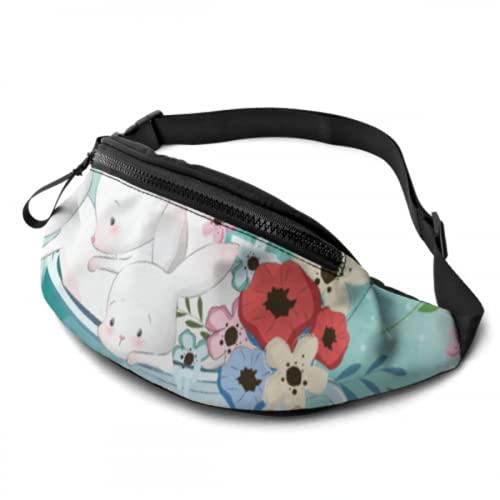 ALALAL Riñoneras para Mujer Cute Bunnies In A Cup Bolsas de Cintura para Hombre con Conector para Auriculares y Correas Ajustables Riñonera Femenina para Viajes, Deportes, Senderismo