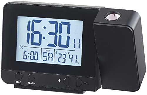 infactory Projektionsuhr: Projektions-Funkwecker, Thermo-/Hygrometer, 2 Weckzeiten, USB-Ladeport (Projektion Wecker)