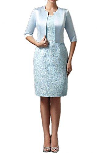 Royaldress Elegant Hell Blau Spitze Brautmutterkleider Abendkleider Partykleider Knielang Etuikleider mit Bolero-46 Hell Blau