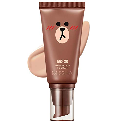 Missha M Perfect Cover BB Cream #23 SPF 42 PA+++(50ml) (LINE FRIENDS Edition)-Lightweight, Multi-Function, High Coverage Makeup to help infuse moisture for firmer-looking skin
