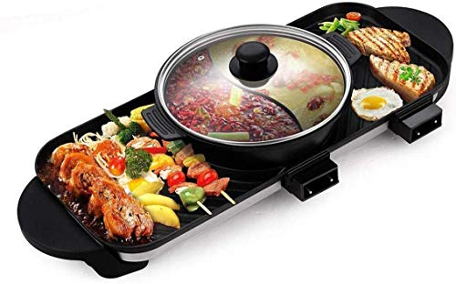 Wzmdd Electric BBQ Grill Hot Pot Grill Multifunction with Ceramic Coating Grill Smokeless BBQ Portable Electric Grill Separable 2200W for Home Party