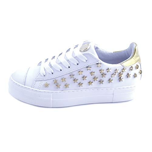 La File des Fleurs - Zapatillas deportivas para mujer de ante gris con logotipo lateral en la parte superior y tachuelas con estrellas de acero, fondo de goma. Producto fabricado en Italia. Gris Size: 37 EU (Ropa)
