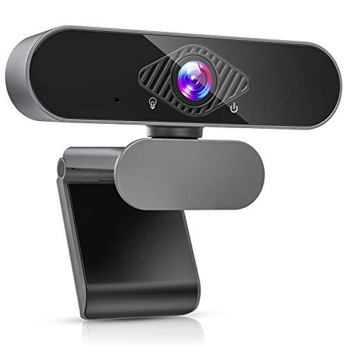 Teaisiy Webcam per PC, Webcam con Microfono HD 1080P 30PFS Può Essere Fisso per Videochiamate, Studio, Conferenza, Registrazione e Lavoro, Video Camera USB 2.0 per Desktop, Laptop, Smart TV (Negro)