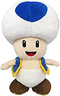 """Little Buddy Super Mario All Star Collection 1588 Blue Toad Stuffed Plush, 7"""""""