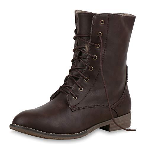 SCARPE VITA Damen Schnürstiefeletten Warm Gefütterte Stiefeletten Winter Boots 165371 Dunkelbraun Warm Gefüttert 39