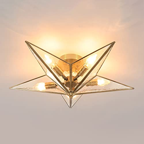 Elegant Five E14 Lámpara De Techo De Cobre, Bombilla E14*5, Φ58*22cm, Luz Techo Retro De Cobre Y Vidrio Semi Empotradas, Ideal Para El Dormitorio, Sala De Estar, Pasillo, Balcón