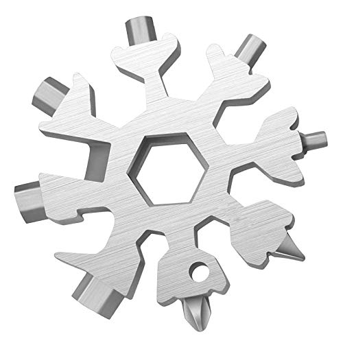 No Touch Door Opener Hand Tool 18 in 1 Snowflake Multi tool Screwdriver Bottle openerOutdoor Wrench Multi tool STANDARDMETRIC Snowflake Wrench Cool gadgetsGreat Christmas gift Silver