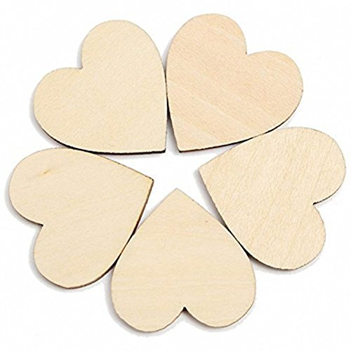 WellieSTR 100Pack, 80mm/3inch Wooden Heart, Natural Unfinished Wood Heart Cutout Shape, Wood Hearts Birthday Party Supplies Diy Scrapbook Craft Wedding Decoration Valentine'S Day