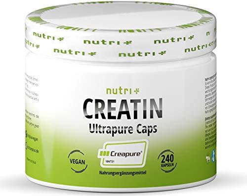 Creatin Creapure Kapseln - CREATINE-MONOHYDRAT - 99,99% rein - höchste Dosierung - Nutri-Plus 240 Vegan Kreatin Caps - 750mg Creatinmonohydrat pro Creatinkapsel - Made in Germany