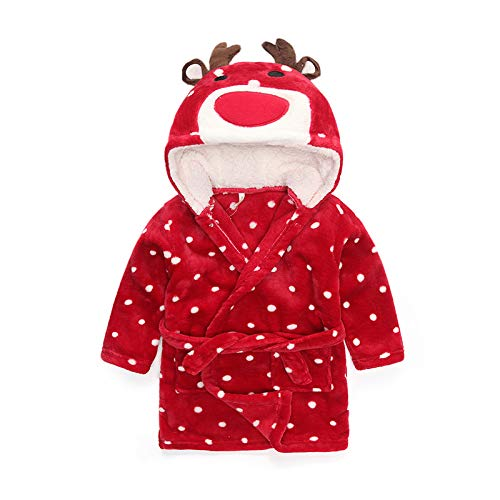 XKMY Toalla de baño con capucha para niños, lindos albornoces para niñas, pijamas, dinosaurios, toalla de playa con capucha, para niños, bata de baño para bebés (color: ciervos, tamaño para niños: 2T)