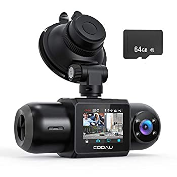 Dash Cam 64GB SD Card Included 1080P FHD Built-in GPS Wi-Fi  Front and Inside Car Camera Recorder with Night Vision G-Sensor Parking Mode