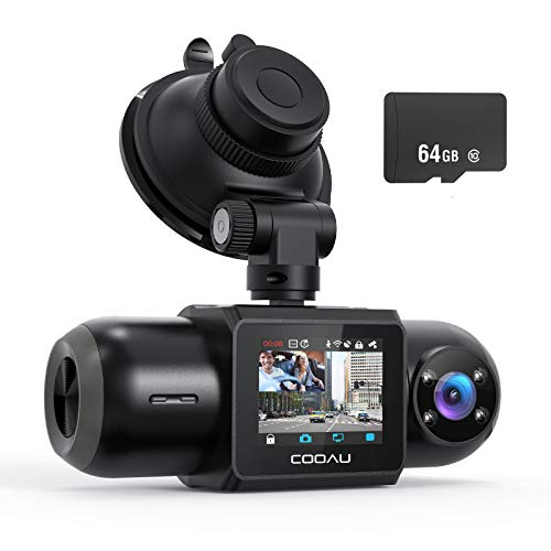 Dash Cam, 64GB SD Card Included, 1080P FHD Built-in GPS Wi-Fi , Front and Inside Car Camera Recorder with Night Vision, G-Sensor, Parking Mode