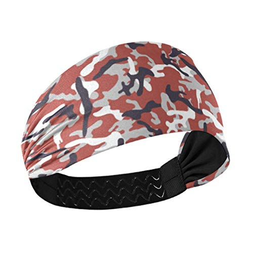 Wide Headbands Camouflage Seamless Vector Wallpaper Makeup Headbands For Women With Non-slip Elastic Webbing For Running Fitness Basketball Dancing Fits All Men And Women