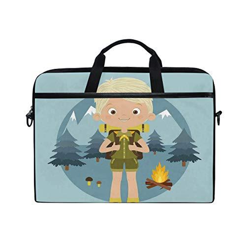 VICAFUCI Nuevo Bolso para portátil de 15-15.4 Pulgadas,Dibujos Animados Boy Scout en el Bosque con montañas, árboles, Setas y diseño de fogata