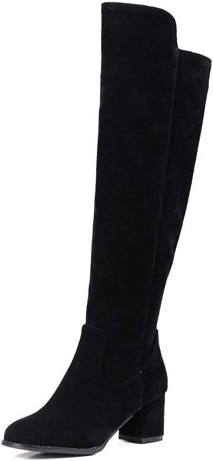 Over Knee High Boots Round Toe Side Zipper Warm Riding Women shoes