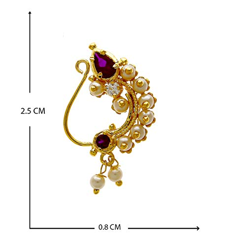Anuradha Art Pink Simple Styled with Beads Traditioanl Metal Nath for Girls Women (Requires Piercing)