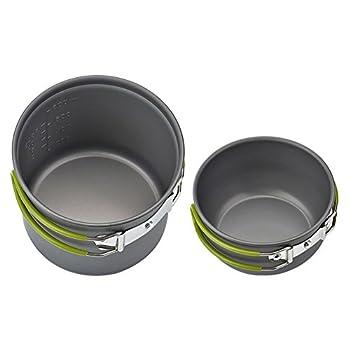 Queta Pique-nique Camping Randonnée Pédestre Pot Pan Cookware Extérieur Casseroles de Cuisine 2 Pièces