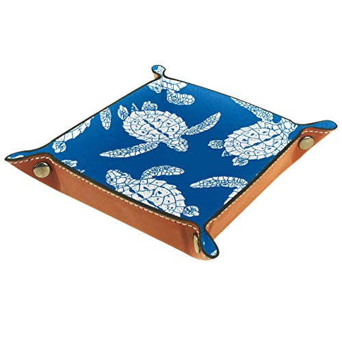 MUMIMI Women Girls Leather Square Dish Trinket Plate Jewelry Tray, Blue Pattern Turtle Mothers Day Birthday Gift