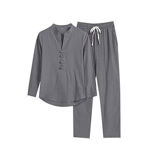 T-Shirt Top Hose Zweiteiliger Anzug Herren Retro Loose Langarm (Top + Hose) (XL,1grau)