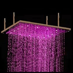 Save %14 Now! Fontana 31 Brushed Bronze shower head Sqaure Color Changing LED Rain Shower Head