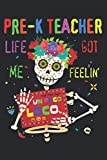 Pre K Teacher Life Got Me Feeling Un Poco Loco Skull: Undated Daily Planner - To Do List, Daily Organizer, Appointments, 6 x 9 inch Notebook Planner Journal
