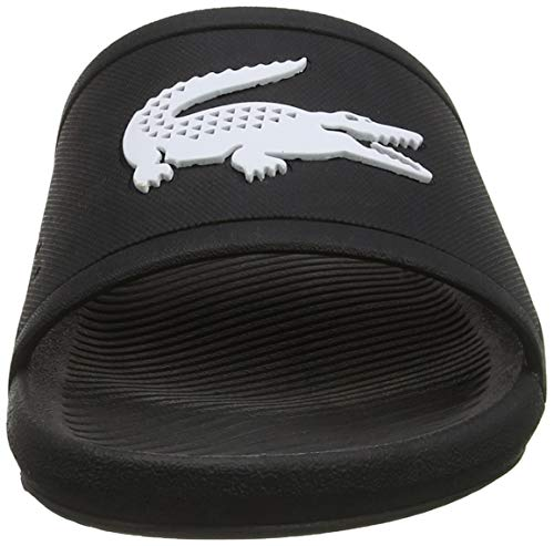 Lacoste Men's Croco Slide 119 1 CMA Open Toe Sandals, Black/White, 10 UK