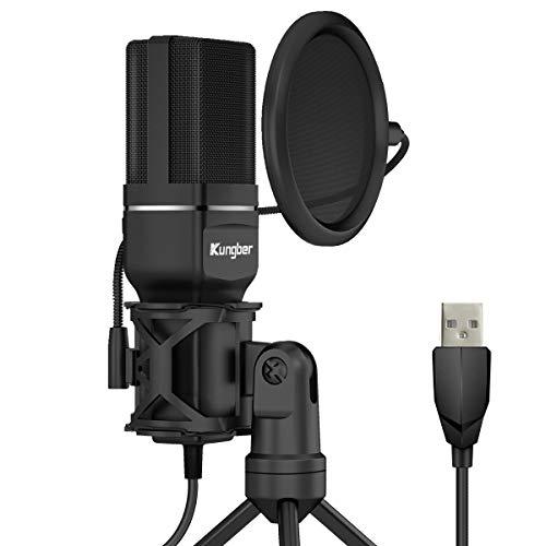 Kungber コンデンサーマイク PC マイク USBマイク マイクセット 単一指向性 防振構造 専用三脚 ポップガード マイクショックマウント マイクスタンド 高音質 録音 生放送 YOUTUBE ゲーム実況 Windows/Mac対応