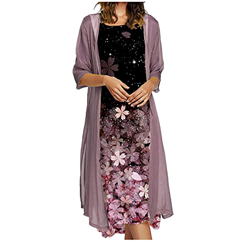 Ydwan StarneA Sommerkleid Damen, Ärmelloses Rundhals Kleid Lockeres Strandkleid Damen Kleider Sommer Abendkleider Elegant für Hochzeit Langarm...