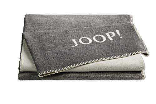 Joop!® Melange-Doubleface I flauschig-weiche Kuscheldecke Graphit-Ecru I Wohndecke aus Baumwoll-Mischgewebe in Melange-Optik I Tagesdecke 150x200cm | nachhaltig produziert in Deutschland I Öko-Tex