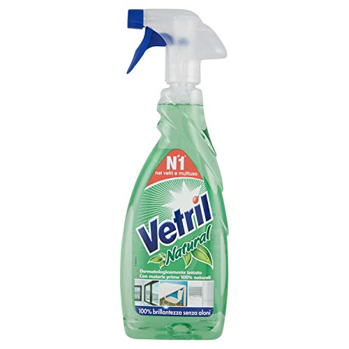 Vetril Natural, Detergente Spray Superfici Senza Allergeni, Brillantezza Senza Aloni, 650 ml