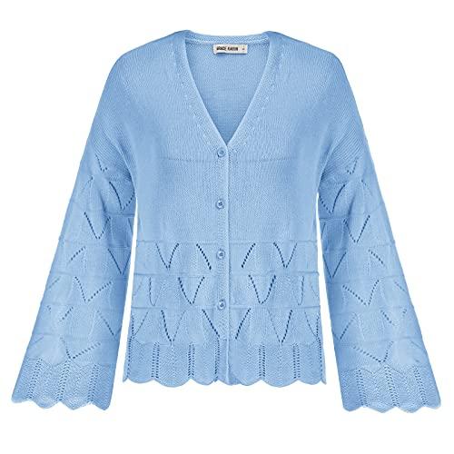 GRACE KARIN Encogimiento de Hombros con Cuello Pico para Mujer Básico Elegante Cómodo Cárdigan Casual Azul Claro XL
