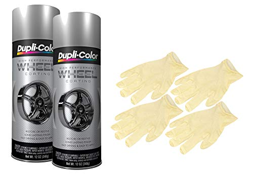 Dupli-Color Silver High Performance Wheel Paint (12 oz) Bundle with Latex Gloves (6 Items)