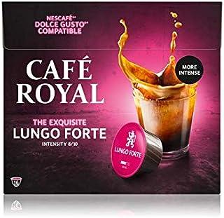 Café Royal Lungo Forte 16 Dosettes Compatibles avec le Système NESCAFE Dolce Gusto Intensité 8/10