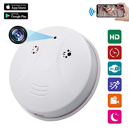 Spy Camera Wireless Hidden ZXWDDP HD 1080P Nanny Cam Baby Pet Monitor WiFi Smoke Detector Camera Motion Detection/Indoor Security Monitoring Camera Support Android/iOS