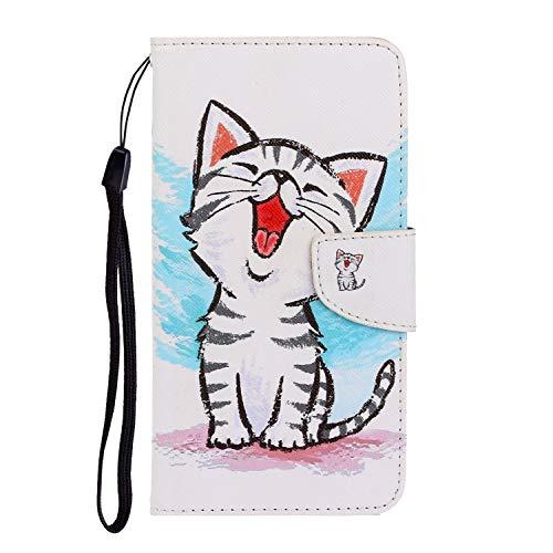 Nadoli Galaxy J4 Plus Hülle,Lachen Katze Muster PU Leder Magnetisch Flip Brieftasche mit Handschlaufe Kartenslot Ständer Klapphülle für Samsung Galaxy J4 Plus