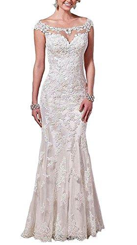 Baixia Meerjungfrau Spitze Kristall Hochzeitskleid Trompete Brautkleid Weiß 40