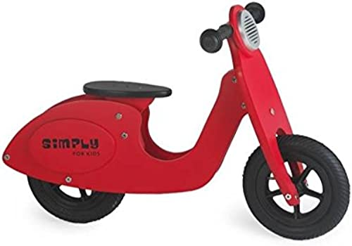 GICO Holzroller Kinderroller Scooter Laufrad Roller aus Holz rot mit Gummir rn, Sitzh  verstellbar