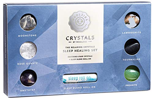 Crystals by Woolzies | The Relaxing Chakra Crystals Sleep Healing Set Contains 6 Raw Crystals + Sleep Blend Roll-on Blend.