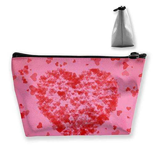 Love Abstract Women Makeup Bags Multi Function Toiletry Organizer Bags,Hand Portable Pouch Travel Wash Storage Capacity with Zipper(Trapezoidal)