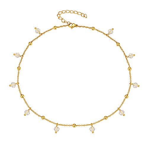 FOCALOOK Cristales Colgantes Choker de Moda para Mujeres Cadenas Finas Cortas Ajustables de Acero Inoxidable Colores Dorados Joyería de Moda para Madres Hijas Novias