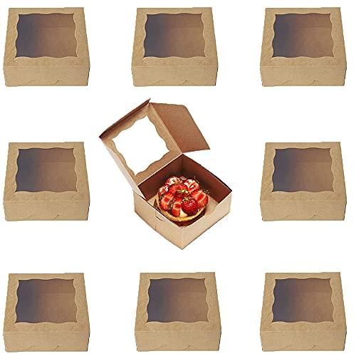 30 Piezas Cajas De Cupcakes, Mini Cajas De Pasteles,Mini Kraft Cajas Para Pasteles Con Ventana Transparente Para Postres, Pasteles, Tartas, Bollos, Caramelos, Snacks (Color De Papel Kraft)