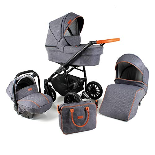 Travel System Stroller Pram Pushchair 2in1 3in1 Set Isofix Fort by SaintBaby Grey for-1 2in1 Without Baby seat