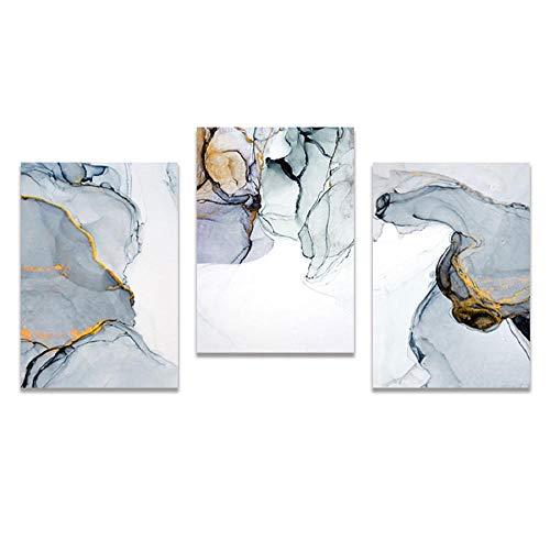 Cuadros salon Arte de pared abstracto moderno nórdico pintura en lienzo dorado azul humo arte póster impresión cuadro de pared para sala de estar 50x72cmx3 sin marco