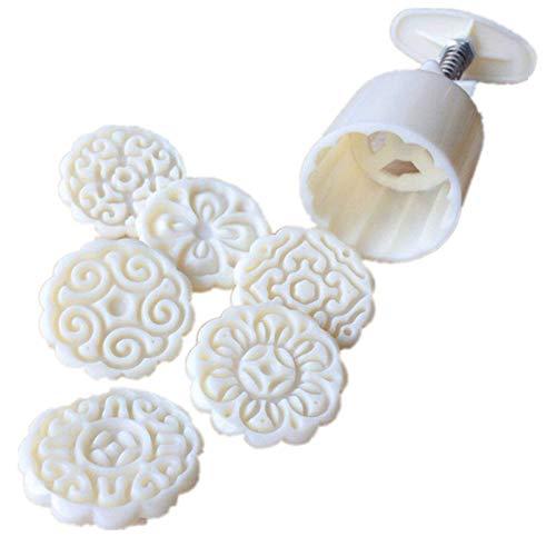 XQK Stampo Mooncake a Forma di Fiore Stampo Mooncake a Forma di Fiore 6 Pezzi Strumento di Decorazione Torta con 6 timbri per Biscotti Fai da Te