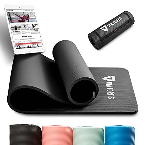 VIA FORTIS Tapis de gymnastique avec sangle de transport – antidérapant & robuste (193 x 61 x 1,5 cm) – Tapis de sport, tapis de yoga idéal pour yoga, pilates, entraînement, extérieur, gym et maison
