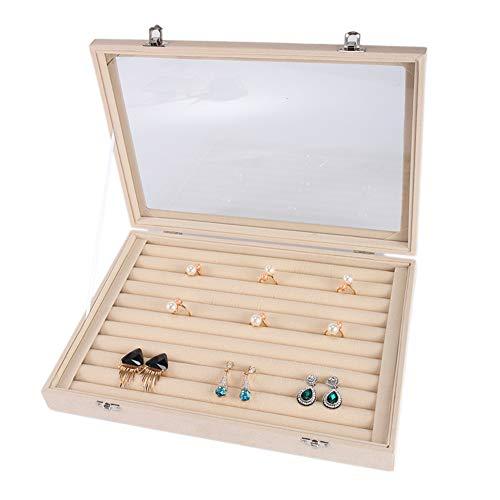 GuangLiu Porta Anillos Organizador Anillos Beige Caja de joyería Caja de Anillo para Compromiso Organizador de Almacenamiento Caja de Gemelos Ring Box