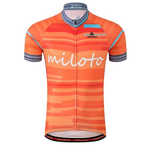 MILOTO Hombre Maillot Ciclismo Manga Corta Ciclismo Reflectante Jersey (Raya Naranja, S)