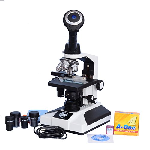 Esaw Pathological Doctor Compound Student Binocular Microscope, 40X-1500X Mag., Led Illumination With Brass Objectives, 1.3Mp Cmos Camera And Kit
