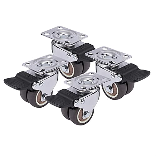 ZLRFCOK 4 ruedas giratorias de 1.5 pulgadas / 2 pulgadas de goma suave resistente ruedas ruedas de muebles con freno para carro de plataforma (color: blanco, tamaño: 2 pulgadas)