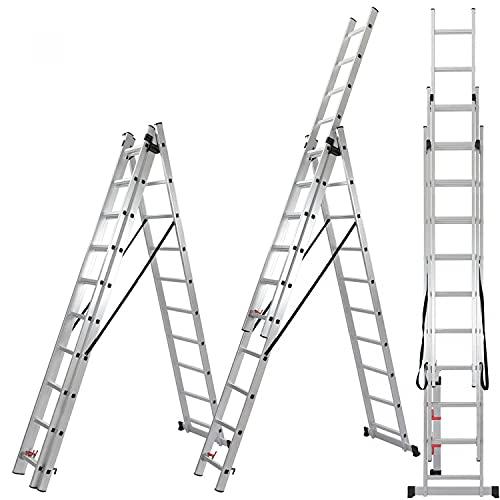 ALDORR Reformleiter 3x10 Klappleiter aus hochwertigem Aluminium   Mehrzweckleiter   Belastbarkeit bis zu 150kg   Sicher und zuverlässig (EN131)